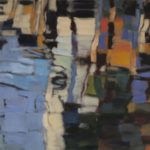 Sur d'autres rives de bleu . huile sur toile . 100 x 81cm